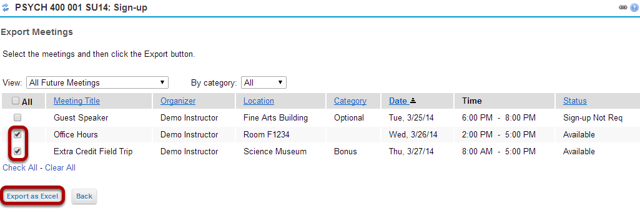 Select the meetings desired, and click Export as Excel.