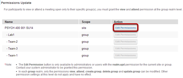 Select the permissions you want to edit (e.g. site).