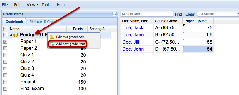 Right-click the name of the Gradebook and select Add a new grade item.