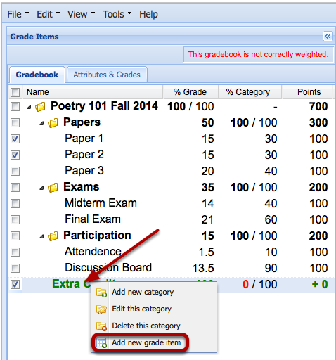 Right-click the Extra Credit Category and select Add a new Item.