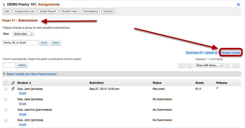 Grading: Instructors can optionally Release All grades at once on the Assignment Submission list page.