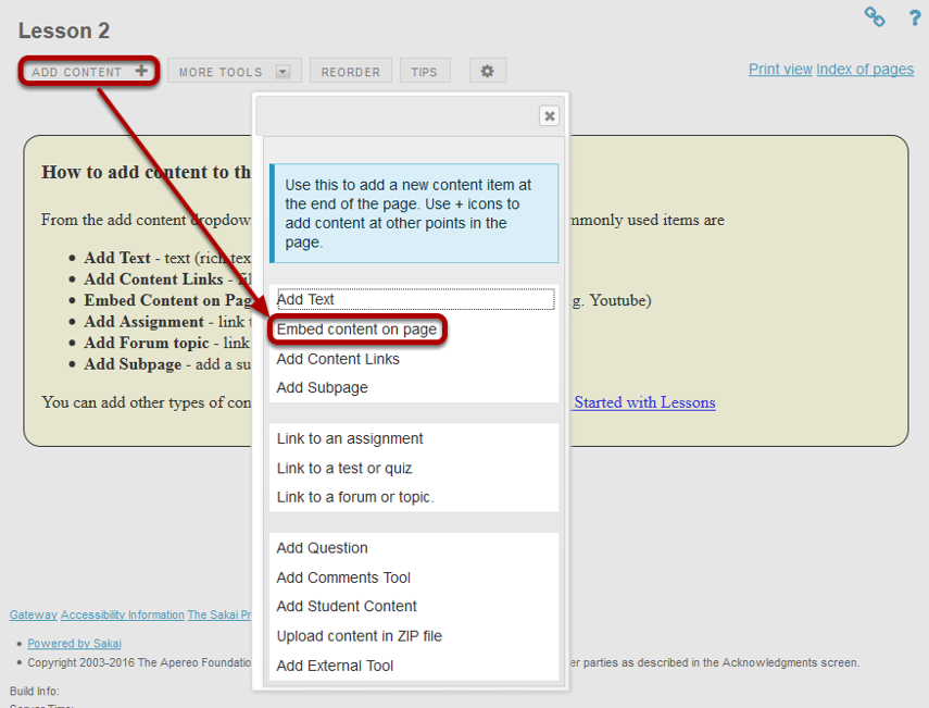 Click on Add Content, then Embed Content on a Page.