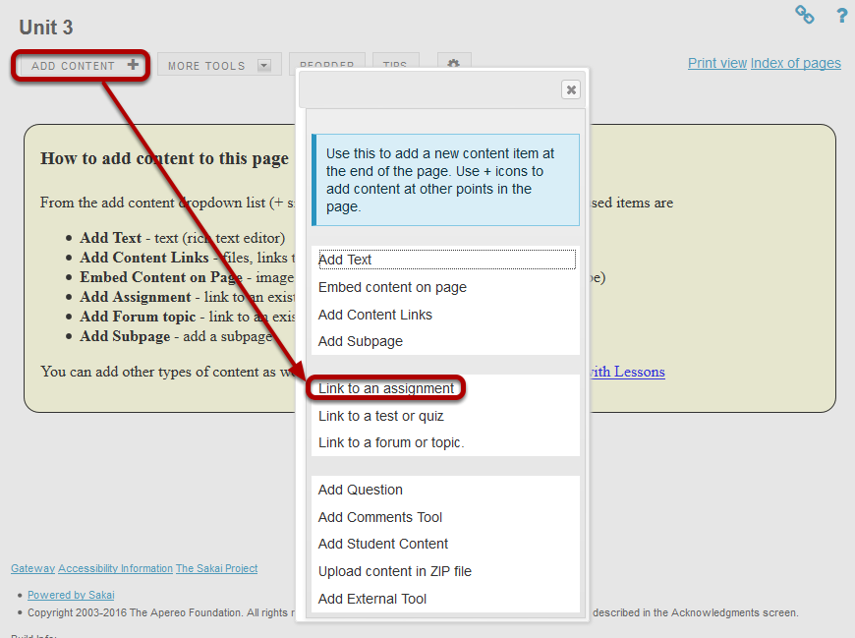 Click Add Content, then Link to an assignment.