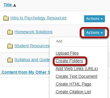 Create subfolders. (Optional)