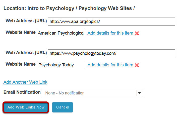 Click Add Web Links Now.