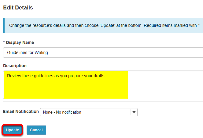 Enter details, then Update.