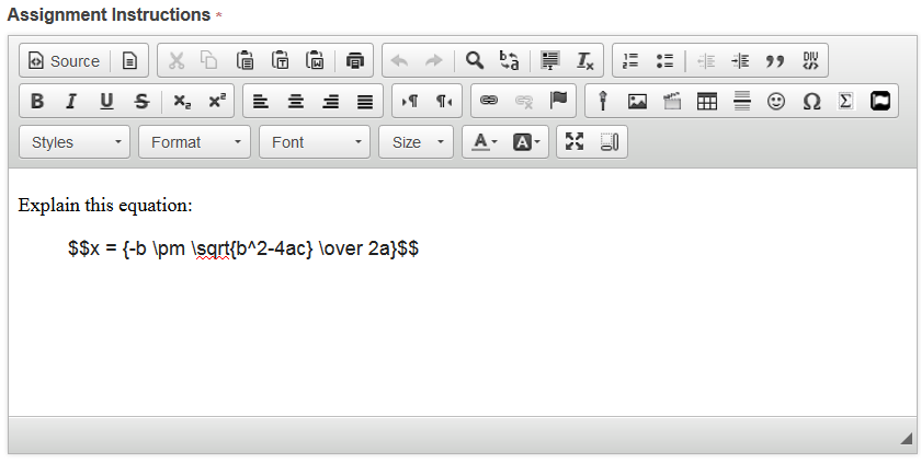 Enter LaTex equation in rich text editor of selected tools.