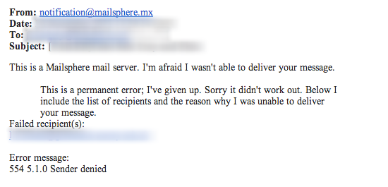 Example delivery failure notification received by sender