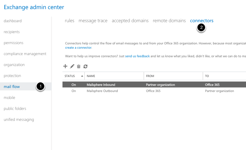 Access the Mailflow - Connectors management screen