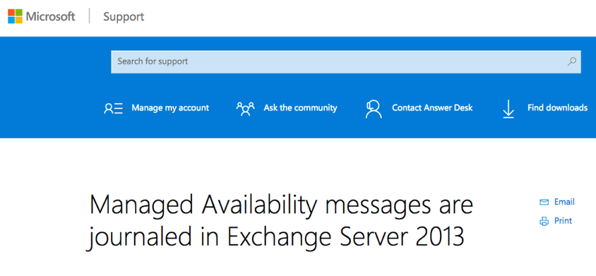 Managed Availability Messages are journaled in Exchange 2013
