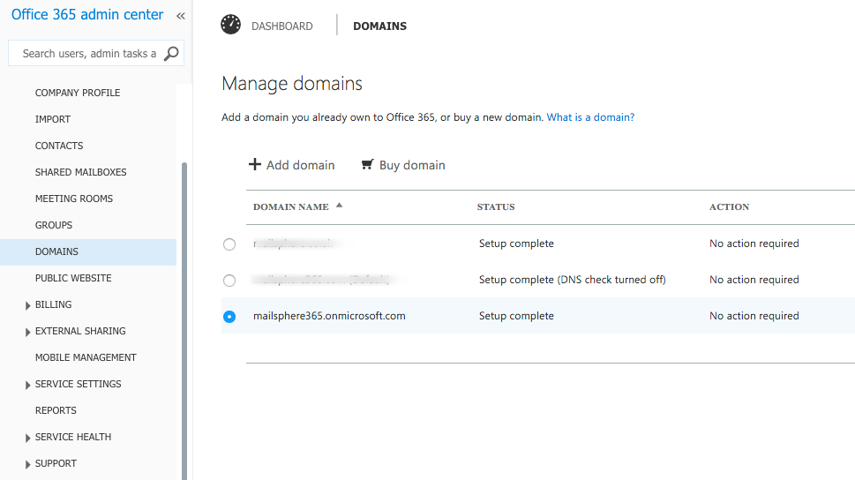 Select Domains from the Admin Center menu