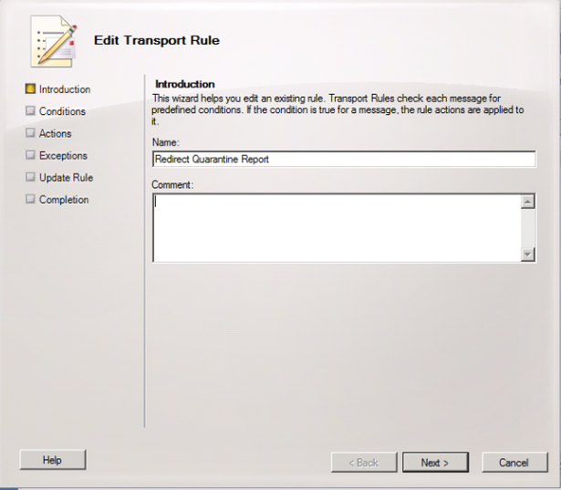 Create a new Organisation Transport Rule