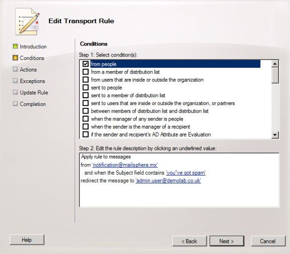 Set the Conditions for the Transport Rule