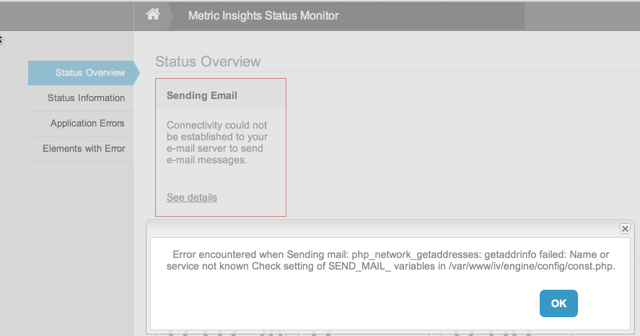 Status Monitor for Sending Email error
