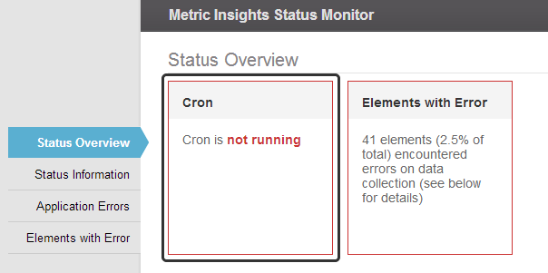 Status Overview Error