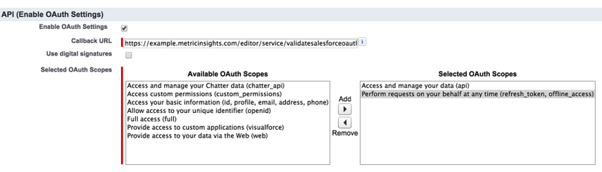 Enable OAuth Settings