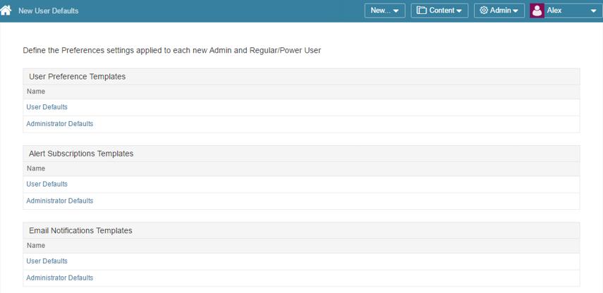 Access Admin > Advanced > New User Defaults