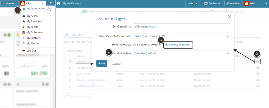 Favorites Editor email digest settings