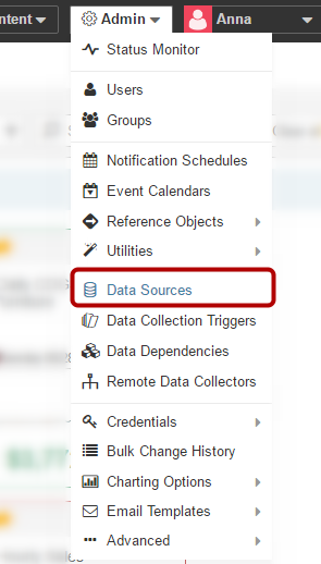 Select Data Sources from Admin drop-down menu