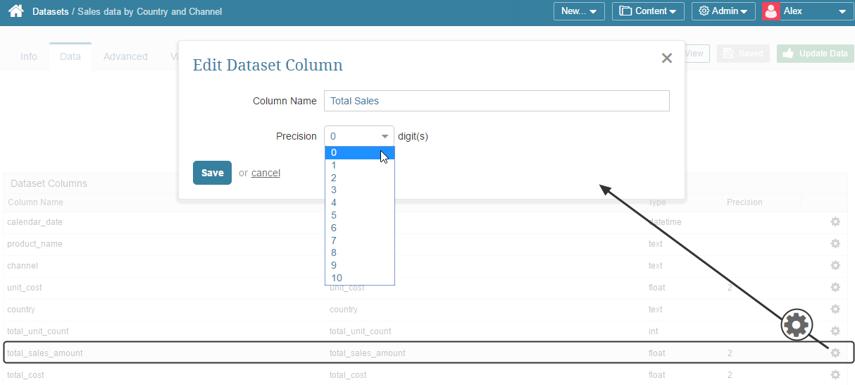 Customizing the display of Dataset values