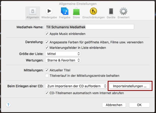 """1. Öffne die allgemeinen Einstellungen von iTunes. Klicke dort auf """"Importeinstellungen..."""""""