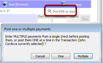 """CLAIMS > Click """"Post EOB by check"""" (right side)"""