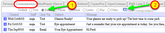 COMMUNICATION tab at the bottom of the PATIENT window