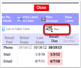 Find patient with a recall reason that are overdue (PATIENT list view)