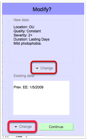 You will be prompted to change the fields that already contain data (blank fields will just be filled with the new template values)