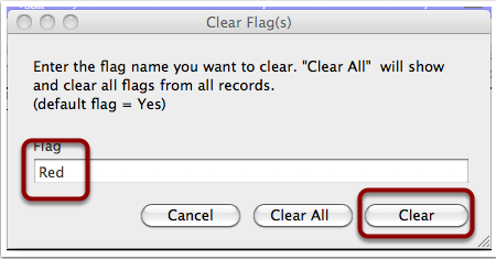 Clear flag icon will clear all flags