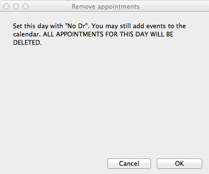"""Click """"cancel"""" to change your mind or """"ok"""" to complete the no doctor request."""