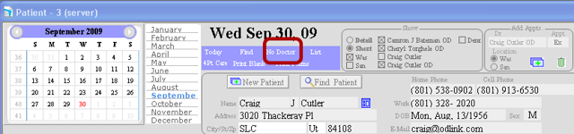 """To mark out all appointments for the day click """"No Doctor"""""""