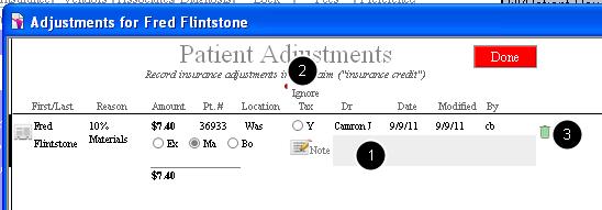 Adjustment details (click the blue details icon)