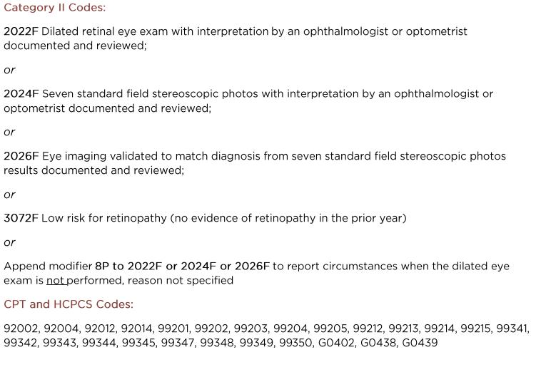 #117 Diabetes: Eye Exam (Effective Clinical Care Domain)