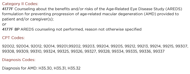 #140 Age-Related Macular Degeneration (AMD): Counseling on Antioxidant Supplement (Effective Clinical Care Domain)