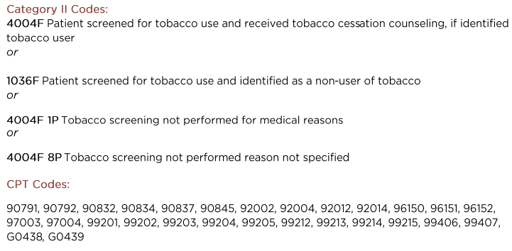 #226 Tobacco use: Screening and Cessation Intervention cross-cutting measure (Community/Population Health Group)