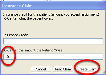 Enter the amount you are billing the insurance provider (insurance credit) OR the amount the patient owes