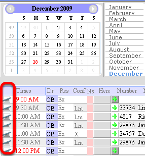 Clear appointment by clicking the symbol on the left.  The PATIENT info will be stored so you can change the appointment to another date or time (short calendar view)