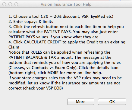 Ok closes help window. More takes you to this lesson in the online help manual.