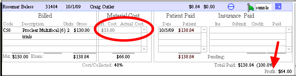 OD Link estimates the profit automatically ($64 in this example). If you know the actual cost from the bill, it can be updated here.  The profit will update.