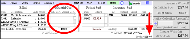 In this case the VSP EOB payment is negative (somehow that's just wrong!), but they pay the lab bill so material costs are $0.00.