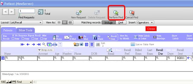 "Click ""Preform Find"" (on the left in FileMaker 8 or 9)"