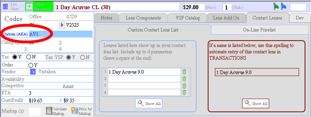 "In the details for the contact lens, an optional ""AKA"" allows you to use an old, or custom code for this item"