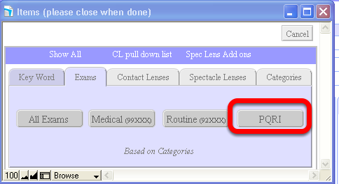 Here is one way to find the list of PQRI codes ITEMS > Exams > PQRI