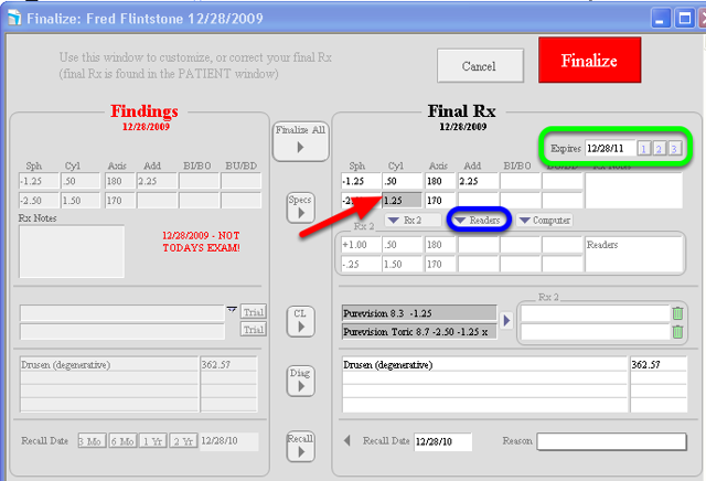 """The """"Customize Final Rx"""" window allows you to pick and choose modifications"""