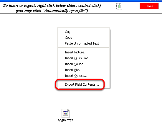 Right click to export font file