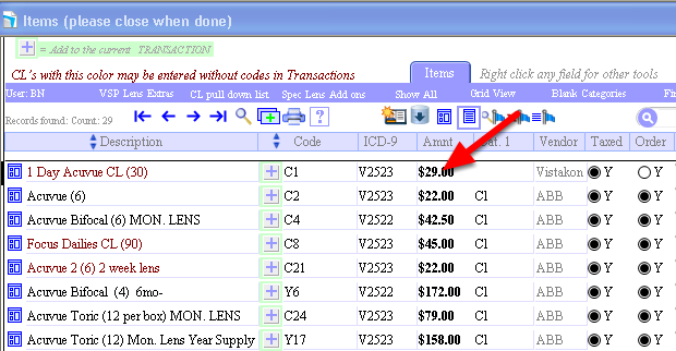 """In this case, OD Link searched on and found """"acu"""" items. To change a price, click the """"Amount"""" and change it."""
