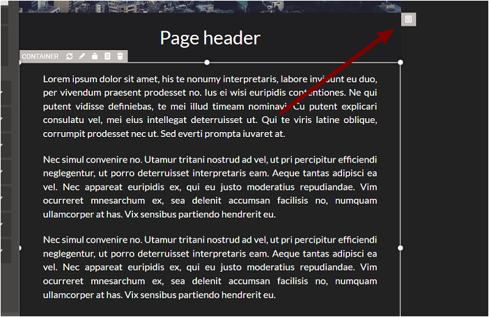 1. Selecting the Page Container to be Deleted