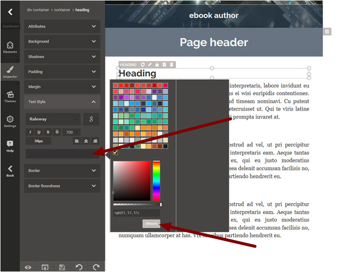 2. Changing the Color of the Heading