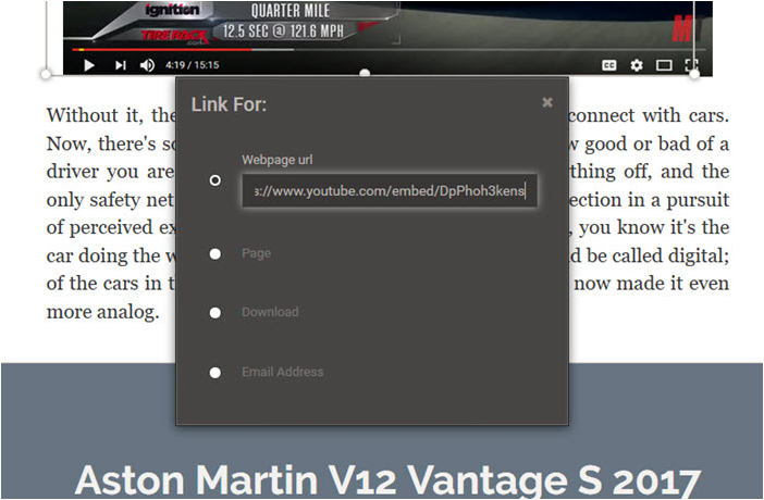 7. Pasting the YouTube URL